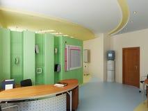 Interior of a modern cabinet. (3d interior stock illustration