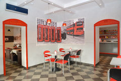Interior of modern cafe in red and light tones Stock Photo