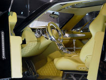 Interior of modern car. Luxury car interior in outoshow Royalty Free Stock Image