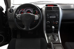 Interior of a modern car. Interior of a car with view on steering wheel and dashboard Stock Images