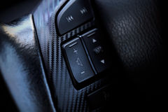 Interior modern car button on  steering wheel Stock Images