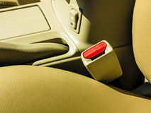 Interior modern car elements, close-up of seat belt Royalty Free Stock Photography