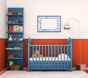 Interior is modern children's room with bright walls Stock Photo