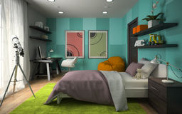 Interior  of modern childroom  with blue wall 3D rendering 4 Stock Image