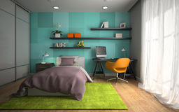Interior  of modern childroom  with blue wall 3D rendering Stock Image