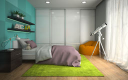 Interior of modern childroom  with blue wall 3D rendering 2 Stock Photos
