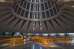 Interior of a Modern Church. Interior of the Sanctuary of Our Lady of the Tears situated in Syracuse, Sicily, Italy. The church is designed based on the shape of royalty free stock photography