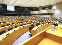 Interior of modern conference hall view through a  Stock Photo