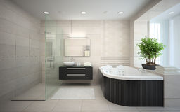 Interior Of The Modern Design Bathroom With Jacuzzi. 3D Rendering Stock  Photography