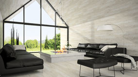 Interior of modern design living room 3D rendering 6 Stock Photos