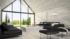Interior of modern design living room 3D rendering 6 Stock Photos