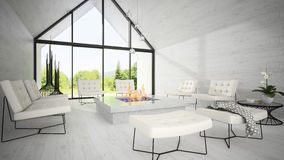 Interior of modern design living room 3D rendering 7 Stock Photos