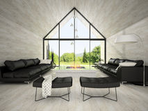 Interior of modern design living room 3D rendering 3 Royalty Free Stock Photography