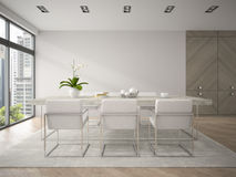 Interior of modern design loft with big table 3D rendering 4 Stock Images