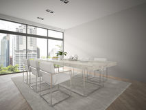 Interior of modern design loft with big table 3D rendering 3 Royalty Free Stock Photography