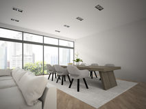 Interior of modern design loft with big table 3D rendering 2 Royalty Free Stock Images