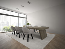 Interior of modern design loft with big table 3D rendering Stock Photography