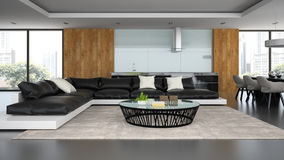 Interior modern design loft with black sofa Stock Photography