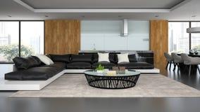 Interior modern design loft with black sofa Stock Photography