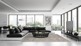 Interior of the modern design  loft with black sofa Stock Photos