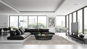 Interior of the modern design  loft with black sofa Stock Photos