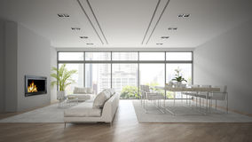 Interior of modern design loft with fireplace 3D rendering Stock Images