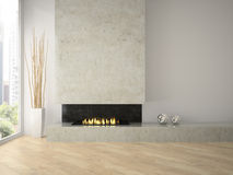 Interior of modern  design loft  with fireplace 3D rendering 2 Royalty Free Stock Photos