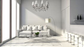 Interior of the modern design loft with lamp, sofa and bar. 3D i. Llustration Royalty Free Stock Photo