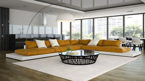 Interior modern design loft with orange sofa Royalty Free Stock Photo
