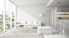 Interior of the modern design  loft in white Royalty Free Stock Photo