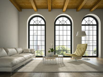Interior of modern   design loft  with white sofa 3D rendering Stock Photography