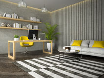 Interior of modern  design office with coffe table 3D rendering Stock Photography