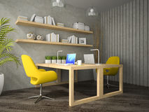 Interior of modern  design office with two table 3D rendering  2 Stock Photography