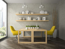 Interior of  modern  design office with two tables 3D rendering Stock Photos