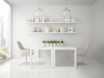 Interior of modern design  office white color 3D rendering Royalty Free Stock Photo