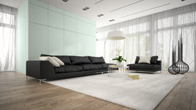 Interior of modern design room with black couch 3D rendering Royalty Free Stock Image