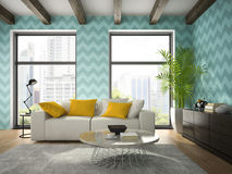 Interior of modern design room with blue wallpaper 3D rendering stock photos
