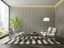 Interior of modern  design room with concret wall 3D rendering Royalty Free Stock Photos