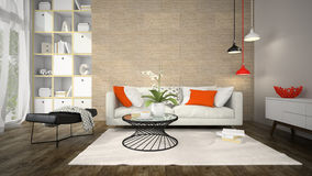 Interior of modern design room with cork wall 3D rendering Royalty Free Stock Photos