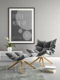 Interior of modern design room 3D illustration Royalty Free Stock Images