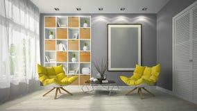 Interior of modern design room 3D illustration Stock Image