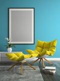 Interior of modern design room 3D illustration Royalty Free Stock Image