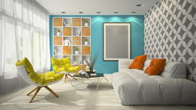 Interior of modern design room 3D illustration Royalty Free Stock Photos