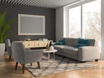 Interior modern design room 3D illustration. Interior of modern design room 3D illustration Royalty Free Stock Image