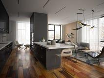Interior modern design room 3D illustration Royalty Free Stock Photography