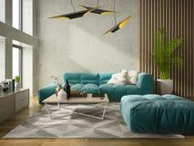 Interior modern design room 3D illustration Royalty Free Stock Photo
