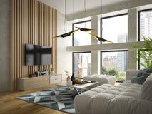 Interior modern design room 3D illustration Stock Photography