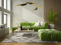 Interior modern design room 3D illustration Stock Image