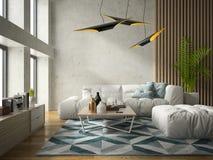 Interior modern design room 3D illustration Royalty Free Stock Photos