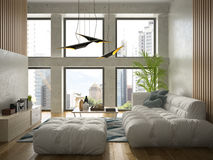 Interior modern design room 3D illustration Stock Photography